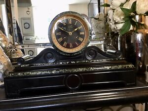Antique French Slate & Marble Mantel Clock.