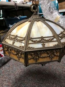 Antique Lamp, Hanging, Slag Glass, Chandelier, Foliated Frame, American 1900-40