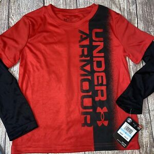 Under Armour Size 5 Versa Red Black Long Sleeve Shirt NEW