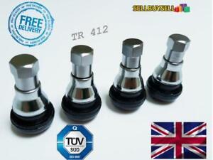 4 x Chrome Hex Wheel Tyre Valve Dust Caps & Stem Covers TR412