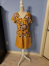 Derek Heart Womens Yellow Short Sleeve Floral Dress Size Large