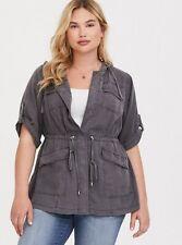 Torrid Gray Tencel Hooded Pockets Anorak Jacket Plus size 2/2X