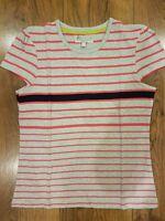 M&S Indigo Girls Grey or Cream Stripe T-shirt Ages 7-8 9-10 11-12 13-14 Years