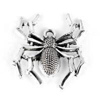 10Pcs Tibetan Silver  3D Spider Shape Charm Pendant DIY Jewelry Making Gift