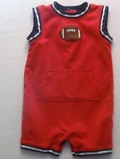"Gymboree ""Very Junior Varsity"" Football Quarterback Red Short Romper, 18-24 mos."