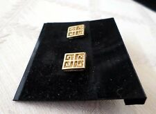 Vintage GIVENCHY Paris New York Gold Plated Square Logo EARRINGS Pierced Post