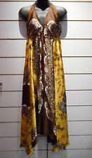 Scarf Dress Fit S M L XL Sexy Sundress Brown Gold Satin Paisley Empire NWT BV105