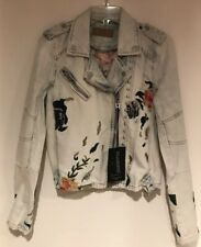 BLANKNYC Floral Embroidered Studded Moto Denim Jacket Dusty Blue Boho Sz S NEW