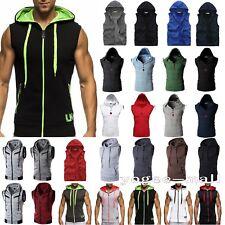 Mens Sleeveless Zip Up Gillet Hoodie Hooded Sweatshirt Gym Muscle Hoody Tank Top