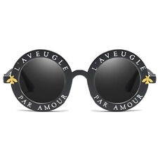 "NEW  ""L'Aveugle Par Amour"" Sunglasses Sun Glasses Black Lens USA Round Retro UV"