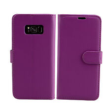 Flip Wallet Leather Case Cover for Samsung Galaxy Phone Screen Protector Plain Purple S5 G900