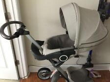 Stokke Xplory Stroller in Beige with Chicco carseat adaptor