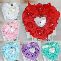 Rose Wedding Favors Heart Shape Pillow Box Cushion Rhinestone Gift Ring Bearer