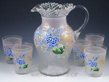 Antique Victorian PITCHER HAND PAINTED ENAMEL FLOWERS 5 TUMBLERS Lemonade Set