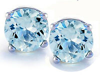 14K GOLD AQUAMARINE 2.86 CARAT ROUND SHAPE STUD PUSH BACK EARRINGS 5mm 80% SALE!