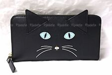 Kate Spade PWRU4428 Cat's Meow CAT Lacey Zip Around Wallet BLACK NWT in Box RARE