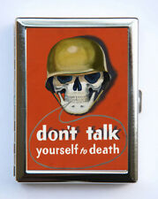 Don't Talk Yourself to Death Poster Army Skull Cigarette Case Wallet World War 2