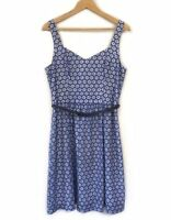 Review Blue Lace Dress Size 12 Navy Belt Sleeveless A Line Work Evening Womens