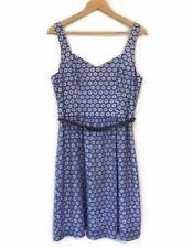 Review Blue Lace Dress Size 12 Navy Belt Sleeveless A Line Work Evening Womens