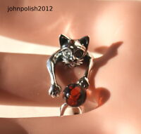 Baltic Amber Cat Plays Ball Ring on Silver 925
