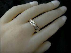 White Sapphire full eternity Ring UK O 9ct Gold B/ham HM c1969 Never used