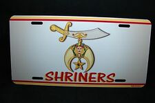 SHRINERS METAL ALUMINUM CAR LICENSE PLATE TAG FOR CARS