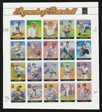 Legends of Baseball USPS  Sheet of Stamps  #3408