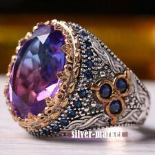 Men's Ring 925 Sterling Silver Turkish Handmade Jewelry Tourmaline Stone   #TR
