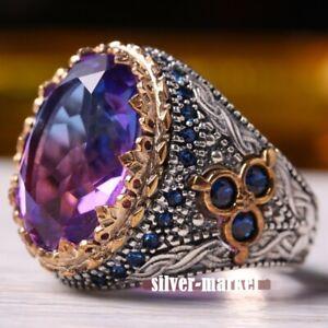 Men's Ring 925 Sterling Silver Turkish Handmade Jewelry Tourmaline Stone