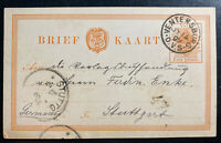 1899 Ventersburg South Africa Stationery Postcard cover To Stuttgart Germany