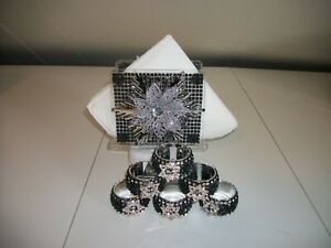 7PC BLACK AND SILVER PAPER  TISSUE HOLDER AND NAPKIN RINGS
