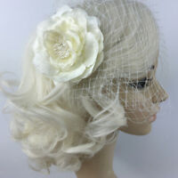 Vintage Beige Flower Birdcage Fascinator Bridal Face Veil Wedding Headpiece