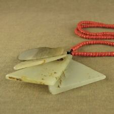 CARVED CHINESE LONGSHAN CULTURE JADE MYSTICAL 4 AXE Pei PENDANT NECKLACE