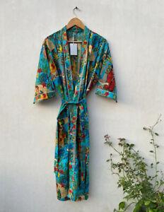 Indian Turquoise Frida Kahlo Kimonos Night Gown Pure Cotton Maxi Gown Kimonos US
