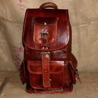 Men's Women Brown Vintage Leather Travel Laptop Backpack Messenger Bag Shoulder