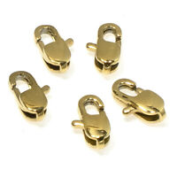 Small Oval Gold Plated Stainless Steel Lobster Claw Clasps 4x9mm 5/Pkg