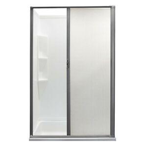 """RV Retractable Rolling Shower Door 36"""" X 57"""" Platinum Woven Mesh"""