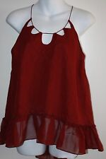 Twelfth Street by Cynthia Vincent 100% Silk Multiple Key Holes Cami Red Size M