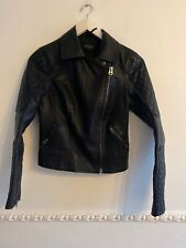 Topshop Petite Size 6 Black Vegan Leather Biker Jacket Coat Short Length