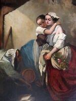 olio su tela Scuola olandese del XIX secolo con cornice Napoleone III