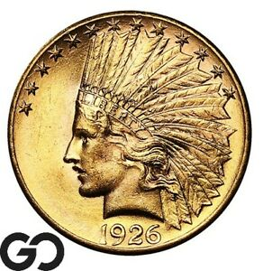 1926 Gold Eagle, $10 Gold Indian, Lustrous Gem BU++ ** Free Shipping!