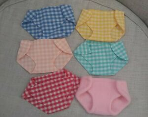 6  Adjustable Handmade  Washable Cloth Diaper Nappies For Cabbage Patch Dolls