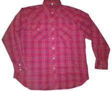 Mens Vintage Westernwear Pearl Snap Long Sleeve Shirt Size XL Red Plaid Cowboy