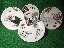 GIEN FRANCE JEUX CARDS KANAPE PLATES SET OF 4 NEVER USED