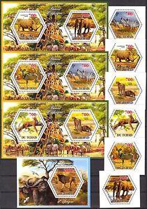 Chad 2014 Animals Elephants Lions Rhinoceros Lions set of 6 + 4 S/S MNH** Privat