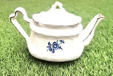 More details for vintage porcelain arthur wood tea pot - blue floral & gold trim large - chipped