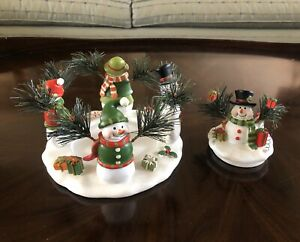 Yankee Candle Snowman Family Candle Jar Holder And Lid Christmas Holiday