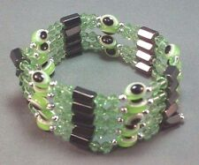 """33"""" EVIL EYE Necklace/Bracelet Bead Hematite Silver Accent Lucky GREEN Last One!"""
