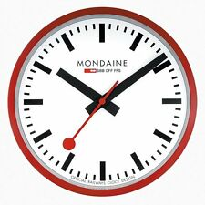 Mondaine A990.CLOCK.11SBC Wall Clock White Dial Red Frame