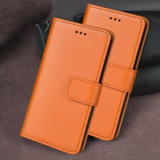 Genuine Leather Ultra Slim Wallet Cover Case for iPhone Models - ORANGE